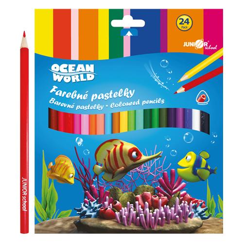 Pastelky Ocean World trojhranné 24 ks